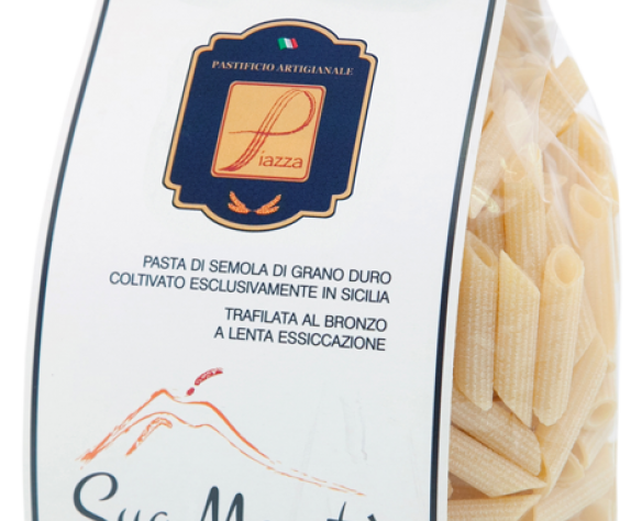 Penne rigate packaging bianco Piazza